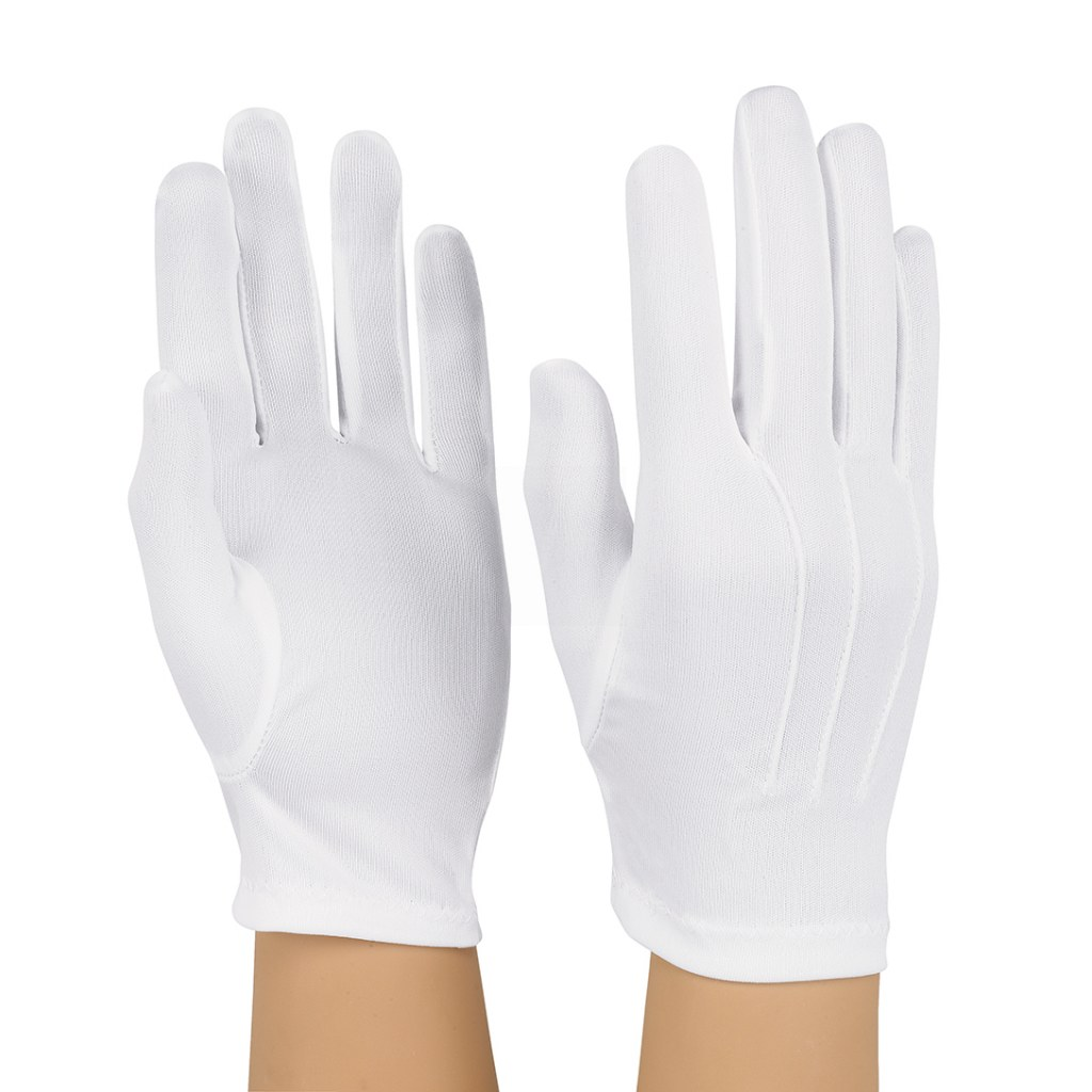 Dozen Dinkles Nylon One Size Gloves – White #GLP50