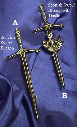 Scottish Sword Broach With Thistle
