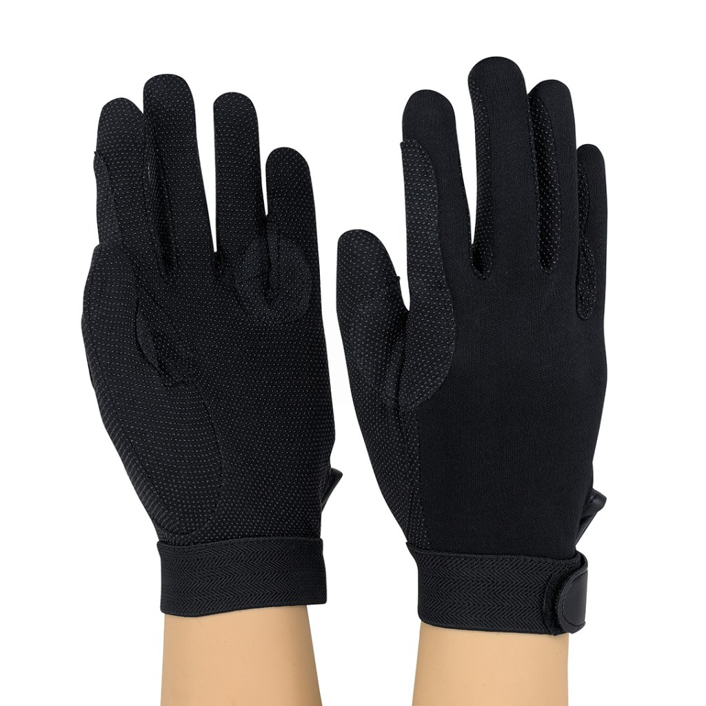 Dozen Dinkles Hook-N-Loop Closure Sure Grip Gloves – Black #GLP200