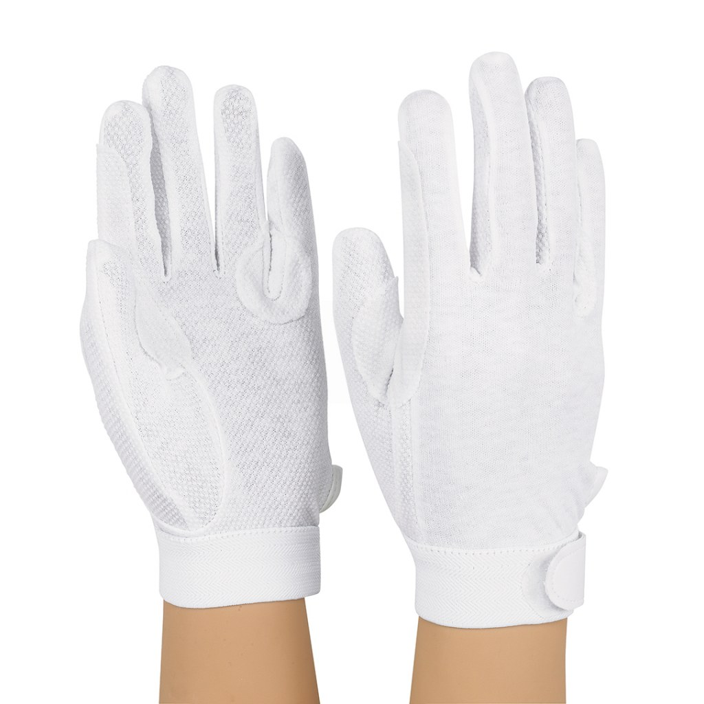 Dozen Dinkles Hook-N-Loop Closure Sure Grip Gloves – White #GLP100
