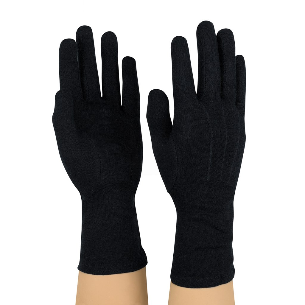 Dozen Dinkles Long Wrist Cotton Gloves – Black #GLP90