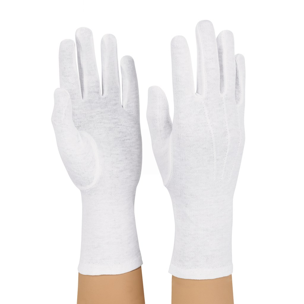 Dozen Dinkles Long Wrist Cotton Gloves – White #GLP20