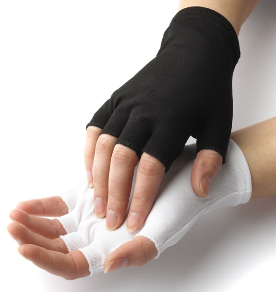 Dozen Dinkles Nylon Fingerless Gloves – White #GLP70