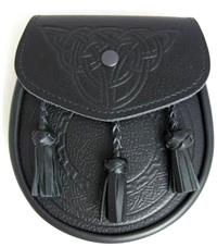 Leather Sporran With Embossed Front And Braided Tassels