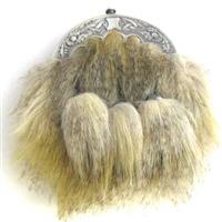 Faux Coyote Dress Sporran With Straight Chain Tassels