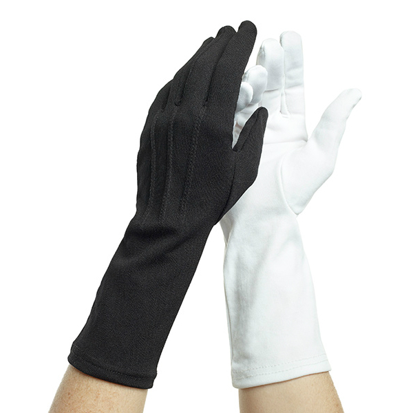 Dozen Dinkles Long Wrist Nylon Gloves – White #GLP450