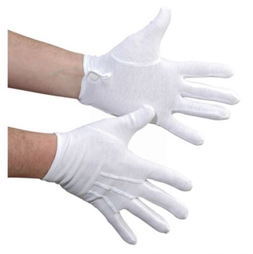 StylePlus White Cotton Military Gloves W/ Snap Closure